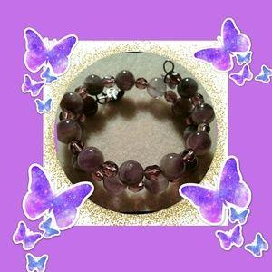 An amethyst and czech glass crystal beads bracelet